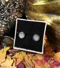 Lovely natural Rainbow Moonstone 6mm round bezel cabochon steel stud earrings 🌈