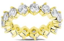 3.50 ct Round Diamond Ring 14k Yellow Gold Eternity Band Size 7 0.20 ct each