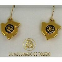 Damascene Gold Flower Dove of Peace Design Drop Earrings by Midas Toledo Spain