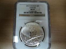 2012, Canada $5.00 Cougar NGC MS67 Silver 1 Ounce Coin