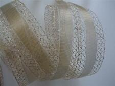 5yd Sparkle Metallic Lace Gold Sheer Wired Ribbon Christmas Wedding Wreath Craft