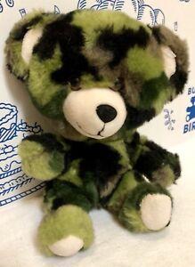 Build a Bear Buddies Green Camo Teddy SmallFrys Plush Camouflage Doll Army Mini