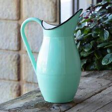 New Vintage Inspired Enamelware Water Pitcher Jug Vase Aqua Green Enamel Ware