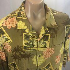 Tommy Bahama Hawaiian Shirt XL 100% Silk Olive Green Post Card Flowers SS
