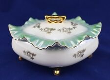 Vintage Porcelain Titov Veles Jugo Iridescent Green Gold Gilt Foot Trinket Box
