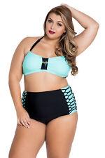 Plus Size High Waist Black & Green Beaded Halter Neck Bikini  Size 14 16 & 18