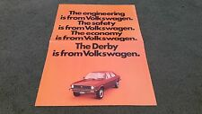 May 1977 / 1978 VW DERBY LS - UK LARGE 4 PAGE COLOUR FOLDER BROCHURE Polo