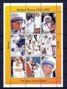 BHUTAN Mother Teresa Lady Diana Pope John Paul 1997 Sheet MNH DAB 686