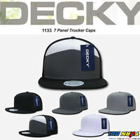 DECKY 7 Panel Trucker Hat Flat Bill Mesh Cap Snapback MOTO Hats One Size #1133