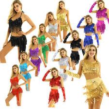 Women Lady Sequin Ballroom Latin Tango Samba Belly Dance Costume Crop Top Skirt