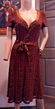 VTG 90's Betsey Johnson NY Brown Floral Mesh Lace Dress P S