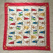 "Vintage Ellen Tracy Silk Red/Blue/Gold Flag Scarf 34"" Square"