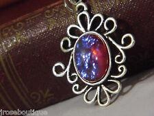 pink purple opal DRAGONS BREATH FIRE Necklace Pendant w/chain 925 silver pltd