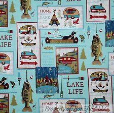 BonEful Fabric Cotton Quilt Log Cabin Dog Boat Boy Scout Lake Scenic Fish SCRAP