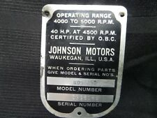 1963 JOHNSON RDS25D 40HP MODEL NUMBER SERIAL PLATE TAG OUTBOARD MOTOR EVINRUDE