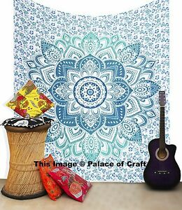 Indian Ombre Mandala Tapestry Hippie Bedcover Bedspread Stylish Art Wall Hanging