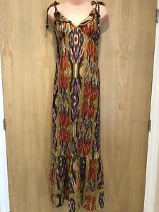 Jaeger Maxi Dress Size 12 Multicoloured Red Yellow Tie Shoulder 100% Cotton