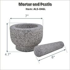 "7"" Mortar and Pestle Marble Set Herb & Spice Grinding Set Granite Stone Grinder"