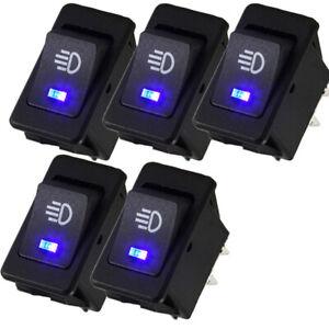 5x 4 Pin 12V 35A Car Fog Light Rocker Switch Blue LED Dash Lamp Switch Universal