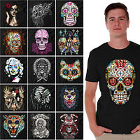 Sugar Skulls Dia De Los Muertos T-SHIRT Day of the Dead Halloween Shirts BLACK