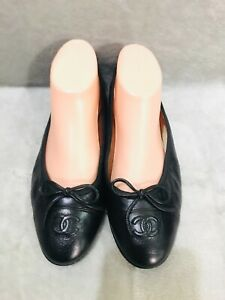 CHANEL CC Classic Bow Black Leather Cap Ballet Flats Shoe Size 36