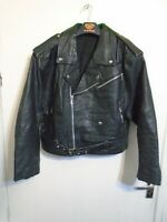VINTAGE 80'S ROBERTO LUCCI DISTRESSED LEATHER BRANDO MOTORCYCLE JACKET SIZE M
