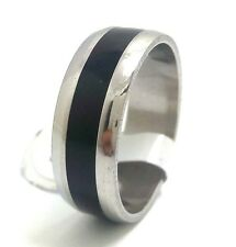 12x Black ENAMEL Men Women stainless steel band Wedding rings job lots wholesale