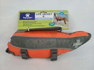 Top Paw Dog Life Jacket Vest with Rescue Handle Orange Size Small 15-30 Lbs NEW