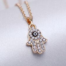 Fashion Gold Crystal Hamsa Hand Pendant Amulet Evil Eye Choker Necklace Jewelry