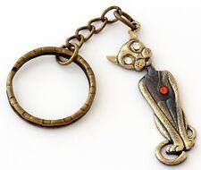 Sphynx Cat Brass Bronze Figurine Keychain Russian Baltic Amber Keyring Pendant