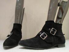 KURT GEIGER BLACK SUEDE BUCKLE ZIP UP ANKLE BOOTS BOOTIES UK 8 EU 41  (3440)