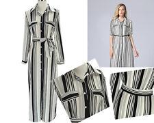 Womens Summer Stripe Long Sleeve Belt Button Collar Side Split Maxi Shirt Dress