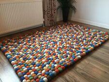 Large Multicolor Wool and Felt Pom Pom Bobble Ball Quality Rug 120 x 180 cm