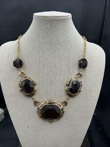 Barse Embellished Smoky Quartz Necklace- Bronze- NWT