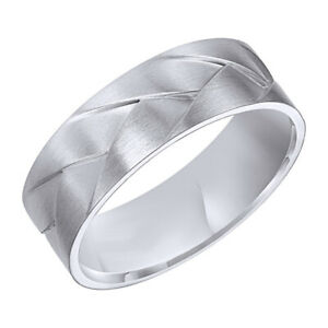Wedding Band Ring 14k White Gold Over Silver
