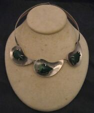 Sterling Silver Collar Necklace Mex Modernist Malachite Teardrops Wire Prong-set