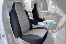 FORD F-250 350 2004-2010 BLACK/GREY S.LEATHER CUSTOM MADE FIT FRONT SEAT COVER