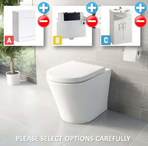 Bathroom Bundle - 500WC Unit, Toilet Pan & Seat, Concealed Cistern, Vanity Unit