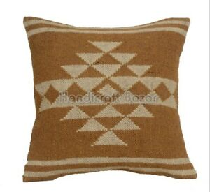 Jute Pillow Cases Wool Kilim Cushion Cover Indian Handwoven Rustic Moroccan Rug