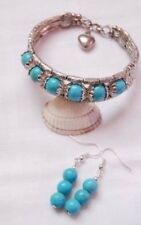 Unique Tibetan silver bracelet with turquoise gemstone beads + matching earrings