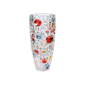 Modern Bohemian Crystal Crafted Decorative 13.5 Inches Vase Red and Blue Circles