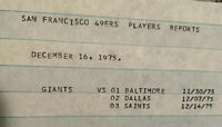 RARE!!! 1975 New York Giants Players/Scouting Report - 49ers vs. Giants 12/21/75