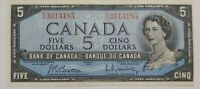 Bank Of Canada 1954 $5 Bank Note. BC-39b, Beattie-Rasminsky. Prefix E/X