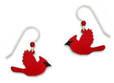 Sienna Sky Red CARDINAL in Flight EARRINGS STERLING Silver Flying Bird  - Boxed
