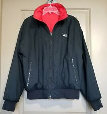 Men's WOOLRICH Sz M Reversible Bomber Jacket Black Red Thinsulate Thermal EUC