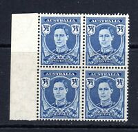 1942 ***MUH*** KGVI 3.5d DEEP BLUE - BLOCK of 4 - PRISTINE