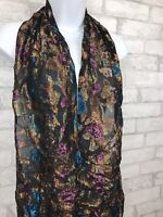 Black Sheer Scarf With Bold Multicolor Metallic Floral Rayon Blend  60x9""