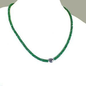 Emerald Gemstone Beaded Necklace With Black Diamond Bead. Ideal Gift