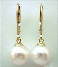 11-12MM AAA PERFECT ROUND white south sea pearl earrings 14K  GOLD MARKED