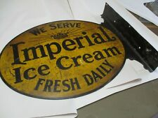 We Serve Imperial Ice Cream Fresh Daily, Double Side Flange, Advertising Sign,